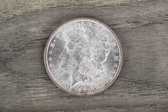 High Qaulity Silver Dollar on aging wood Stock Photo