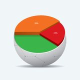 High Quality 3D Soccer Ball. With Statistic Diagram. Sport illustration infografic Royalty Free Stock Image