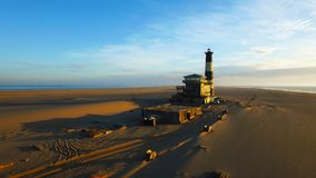 High quality aerial drone photo of desert sand peninsula, old li royalty free stock images