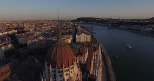 High quality aerial footage of Hungarian Parliament Building in gothic style stock footage