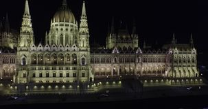 High quality aerial footage of Hungarian Parliament Building in gothic style stock video footage