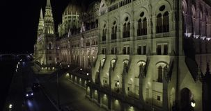 High quality aerial footage of Hungarian Parliament Building in gothic style stock video