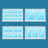 High Quality Aluminium Windows. Stainless Steel. Aluminium windows set isolated on blue background. High quality windows from stainless steel. Modern frame Stock Photos