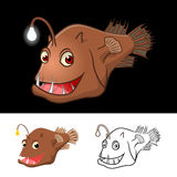 High Quality Anglerfish Cartoon Character Include Flat Design and Line Art Version royalty free stock image