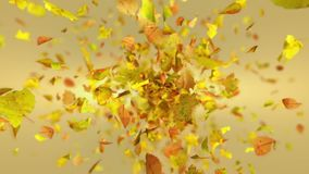 Exploding autumn leafs background