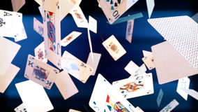 High quality animation of flying playing cards stock footage