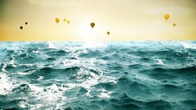 High quality animation of ocean waves with beautiful air balloons on the background. Looping. HD animation of ocean waves with beautiful air balloons on the stock footage
