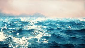High quality animation of ocean waves with beautiful mountains on the background. Looping. HD animation of ocean waves with beautiful mountains on the stock footage