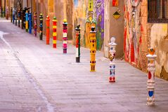 Bright colorful road decoration, street art