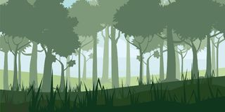 A high quality background of landscape with deep deciduous forest. Cartoon style. Vector, illustratoin. A high quality background of landscape with deep royalty free illustration