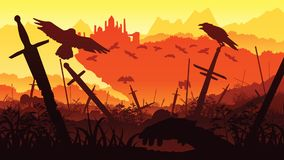A high quality background of landscape with the fallen soldiers in the battle for the castle. Background of a swords and crows. Flat style Stock Image