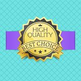High Quality Best Choice Stamp Golden Label Reward. Award vector illustration in black and gold colors with stars isolated checkered blue background Stock Photo