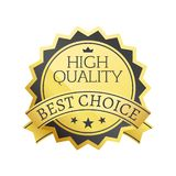 High Quality Best Choice Stamp Golden Label Reward. Award vector illustration in black and gold colors with stars isolated on white background Stock Images