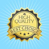 High Quality Best Choice Stamp Golden Label Reward. Award vector illustration in black and gold colors with stars  on blue background with rays Stock Photo