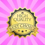 High Quality Best Choice Stamp Golden Label Reward. Award vector illustration in black and gold colors with stars isolated on pink background with rays Stock Image