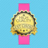 High Quality Best Choice Stamp Golden Label Reward. Award vector illustration in black and gold colors with stars isolated on striped blue background Stock Images