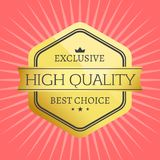 High Quality Best Choice Stamp Premium Label Award. High quality best choice premium label reward award vector illustration in black and gold colors with stars Stock Image