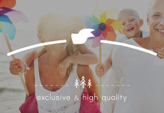 High Quality Brand Marketing Business Branding Copy Space Concept. Families Enjoying at the Beach Concept royalty free stock photo