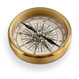 High Quality Brass Compass with clipping path. A High Quality Brass Compass isolated on white. Clipping path present on maximum resolution downloads Stock Images