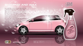 High quality Car Shampoo and Wax Spray packadge mock up ads. Bottle of carwash soap. 3d Vector realistic vehicle. Template vector illustration