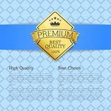 High Quality Choice Golden Label Guarantee Sticker. High quality best choice golden label guarantee sticker award, vector certificate emblem with stars and crown Stock Photography