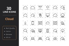 30 Cloud Line Icons. High quality cloud line icons. Icons for user interfaces and web Royalty Free Stock Images