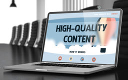 High-quality Content Concept on Laptop Screen. 3D. Royalty Free Stock Photo