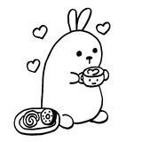 High quality cute bunny with coffee and sweets Royalty Free Stock Photos