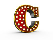 Letter C 3D Broadway Style. High quality 3D illustration of the letter C in Broadway style with light bulbs illuminating it over white background royalty free illustration