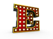 Letter E 3D Broadway Style. High quality 3D illustration of the letter E in Broadway style with light bulbs illuminating it over white background royalty free illustration