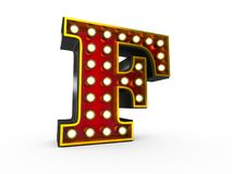 Letter F 3D Broadway Style. High quality 3D illustration of the letter F in Broadway style with light bulbs illuminating it over white background vector illustration