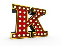 Letter K 3D Broadway Style. High quality 3D illustration of the letter K in Broadway style with light bulbs illuminating it over white background stock illustration