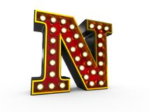 Letter N 3D Broadway Style. High quality 3D illustration of the letter N in Broadway style with light bulbs illuminating it over white background stock illustration