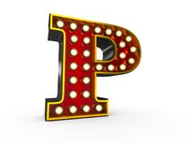 Letter P 3D Broadway Style. High quality 3D illustration of the letter P in Broadway style with light bulbs illuminating it over white background vector illustration