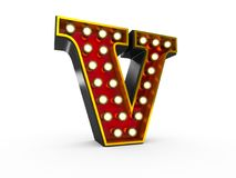 Letter V 3D Broadway Style Royalty Free Stock Photos