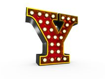 Letter Y 3D Broadway Style. High quality 3D illustration of the letter Y in Broadway style with light bulbs illuminating it over white background vector illustration