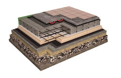 High quality 3d render computer image of foundations and walls with insulation of the house. High quality 3d render computer image of the construction of Stock Photo