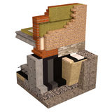 High quality 3d render computer image of foundations and walls with insulation of the house. Three-dimensional conceptual image of construction details. Wall Stock Photos