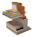 High quality 3d render computer image of foundations and walls with insulation of the house. Three-dimensional conceptual image of construction details. Wall Royalty Free Stock Photo