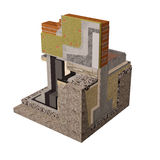 High quality 3d render computer image of foundations and walls with insulation of the house. Three-dimensional conceptual image of construction details. Wall Stock Photography