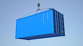 High quality 3D render shipping container during transport Royalty Free Stock Image