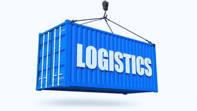 High quality 3D render shipping container during transport Stock Photo