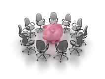 Office Chair with Piggy Bank royalty free stock photos