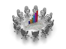 Office Chairs Meeting with Office Chairs Meeting with Growth Chart Graph Royalty Free Stock Image