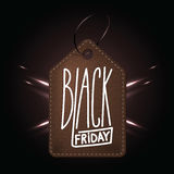 High quality dark brown leather badge for Black friday shopping. Day. Handdrawn linear inscription. Leathern label for your web business retail Stock Image