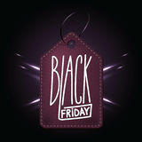 High quality dark purple leather badge for Black friday shopping. Day. Handdrawn linear inscription. Leathern label for your web business retail Stock Images