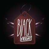 High quality dark red leather badge for Black friday shopping da. Y. Handdrawn linear inscription. Leathern label for your web business retail Stock Photography