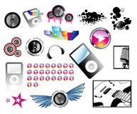 High quality detailed music icons Royalty Free Stock Images