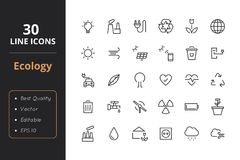 30 Ecology Line Icons. High quality ecology line icons. Icons for user interfaces and web Stock Image