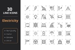 30 High Quality energy line icons Royalty Free Stock Images